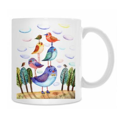 акварельная картинка, птицы, арт