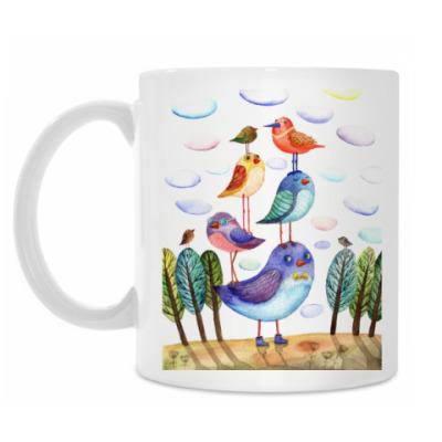 Кружка акварельная картинка, птицы, арт