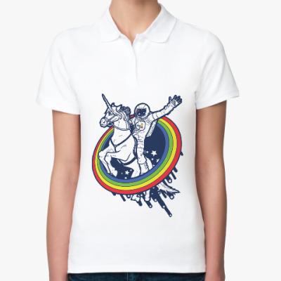Женская рубашка поло Космонавт на единороге