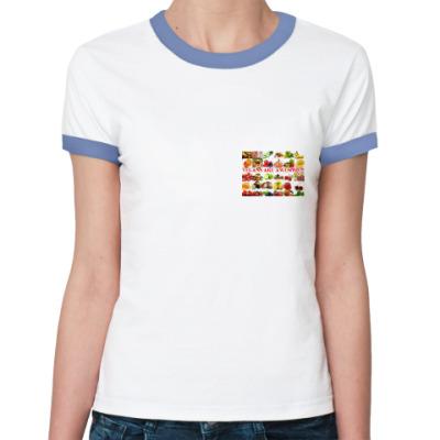 Женская футболка Ringer-T Веганы классные!