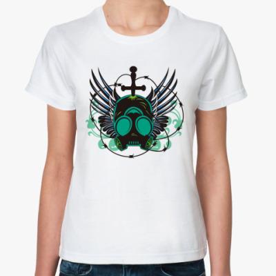 Классическая футболка  Череп в противогазе