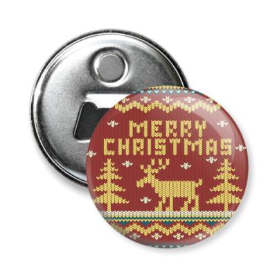 Магнит-открывашка Вязаный рождественский узор с оленем