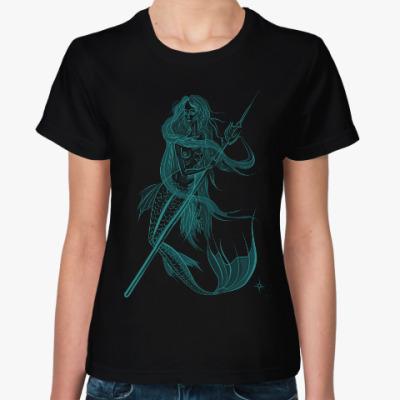Женская футболка Фантомная русалка. Морская волна.