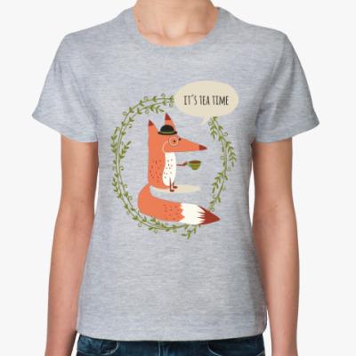 Женская футболка Лиса и чай
