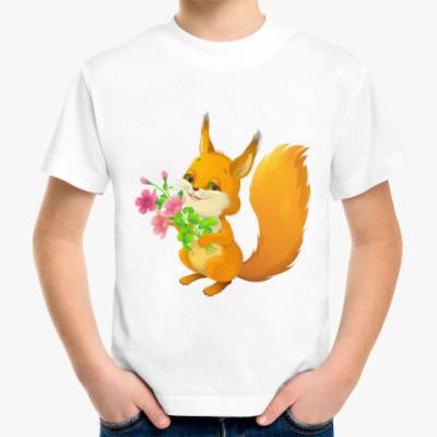 Детская футболка Белочка с букетом