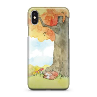 Чехол для iPhone X Лиса в осенней природе