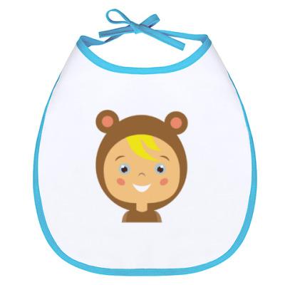 Слюнявчик Ребенок в костюме медвежонка