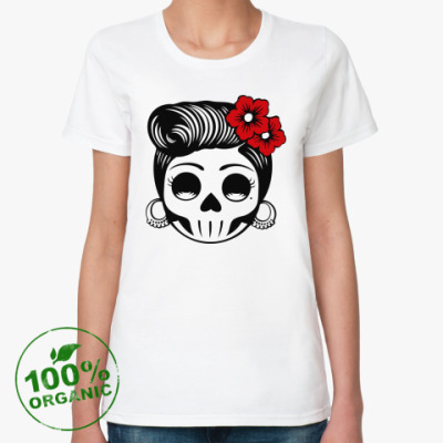Женская футболка из органик-хлопка  Skull Girl