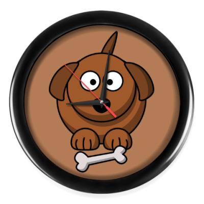Настенные часы Собачка с косточкой