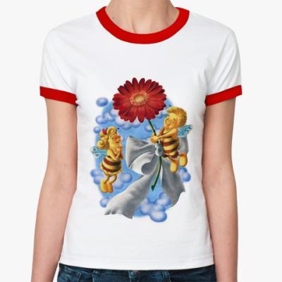 Женская футболка Ringer-T Пчёлки и цветок