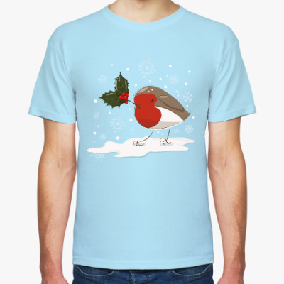 Футболка Рождественская птица малиновка