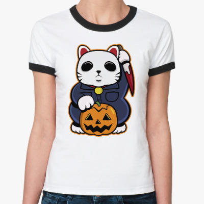 Женская футболка Ringer-T Halloween Maneki Neko и тыква