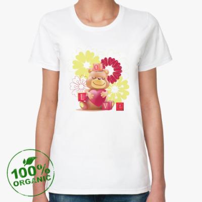 Женская футболка из органик-хлопка Влюбленный медведь