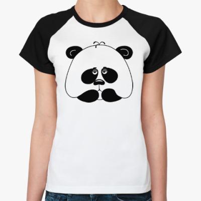 Женская футболка реглан Грустная панда