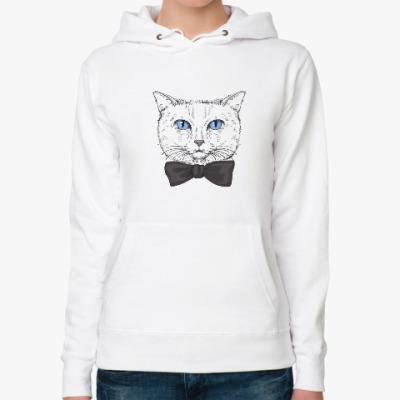 Женская толстовка худи Hipster Cat