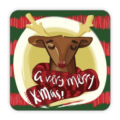 Костер (подставка под кружку) Рождественский олень merry christmas