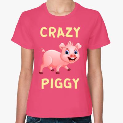 Женская футболка CRAZY PIGGY