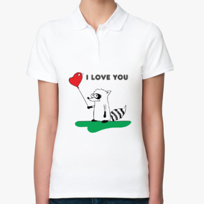 Женская рубашка поло 'I LOVE YOU' с Енотом