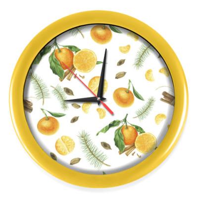 Настенные часы Яркие мандарины со специями