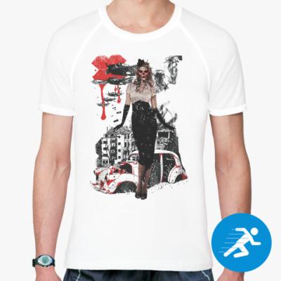 Спортивная футболка Девушка в стиле милитари