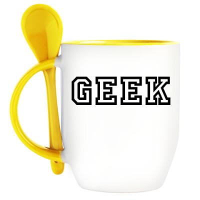 Кружка с ложкой Гик (Geek)
