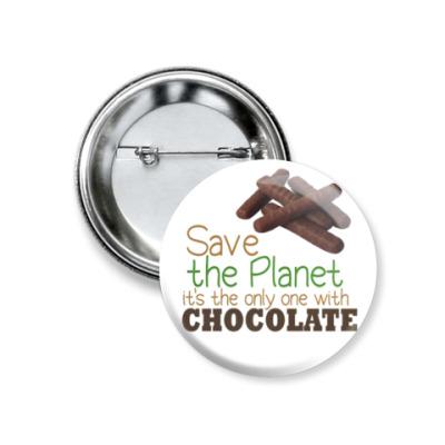 Значок 37мм Planet with chocolate