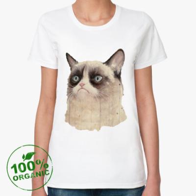 Женская футболка из органик-хлопка Grumpy Cat / Сердитый Кот