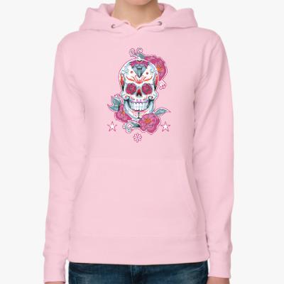 Женская толстовка худи Flower skull