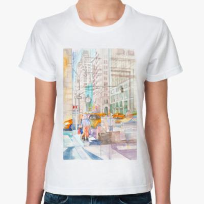 Классическая футболка Отражения в окнах Нью Йорка