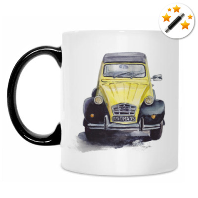 Кружка-хамелеон Жёлтый ретро-автомобиль