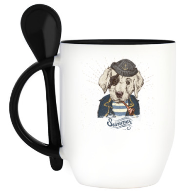 Кружка с ложкой Пиратский собака