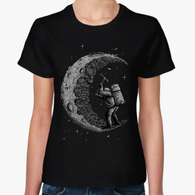 Женская футболка Moon worker космонавт на луне