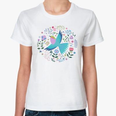 Классическая футболка Птица среди цветов
