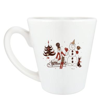 Чашка Латте Кофейная Новогодняя