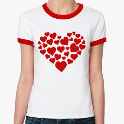 Женская футболка Ringer-T Влюблённое сердце