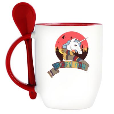 Кружка с ложкой Рождественский Единорог в стиле Доктора Кто