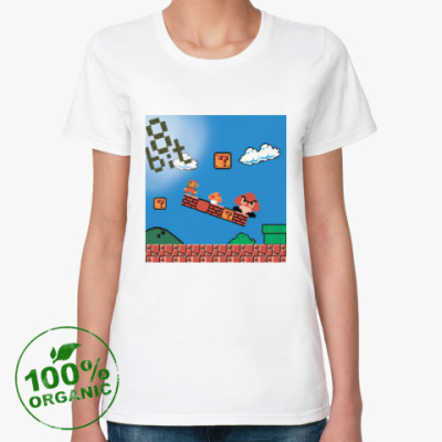 Женская футболка из органик-хлопка mario 8 bit