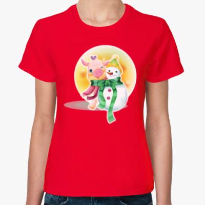 Женская футболка Piggy & Snowman