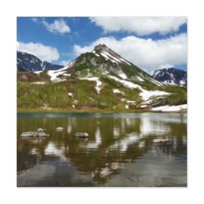 Виниловые наклейки Полуостров Камчатка, горы, горное озеро, отражение