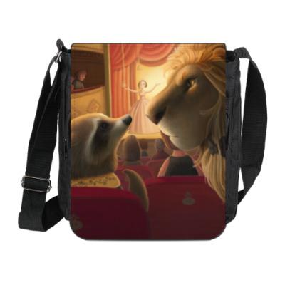 Сумка на плечо (мини-планшет) Лев и Енот в театре