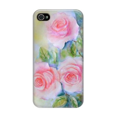 Чехол для iPhone 4/4s Акварельные розы
