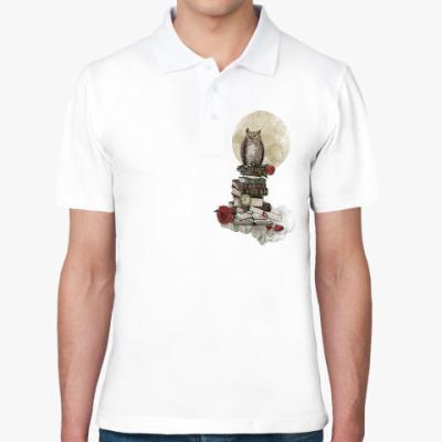Рубашка поло Мудрая сова и книги