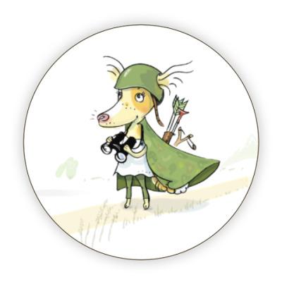 Костер (подставка под кружку) Собака - воин-пограничник