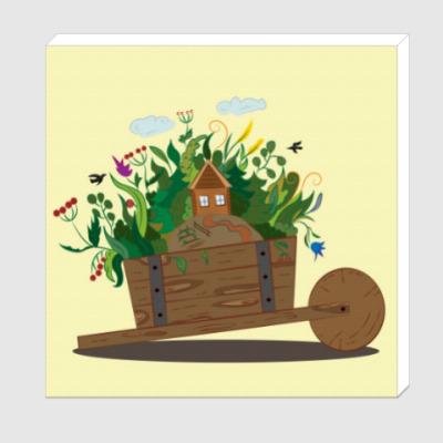 Холст Садовая тачанка и волшебный сад