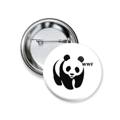 Значок 37мм WWF. Панда с лого