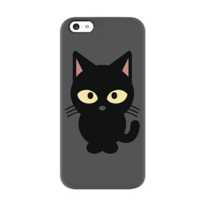 Чехол для iPhone 5c Черный Котик