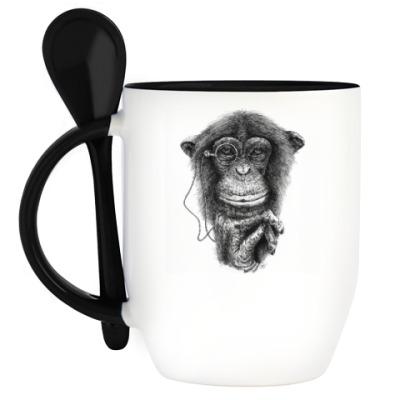 Кружка с ложкой Monkey
