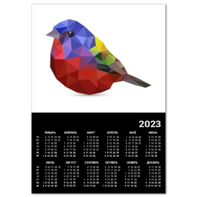 Календарь Птичка из полигонов