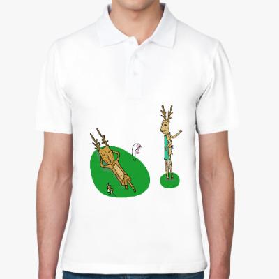 Рубашка поло Олень на траве