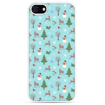 Чехол для iPhone Олени в зимнем лесу